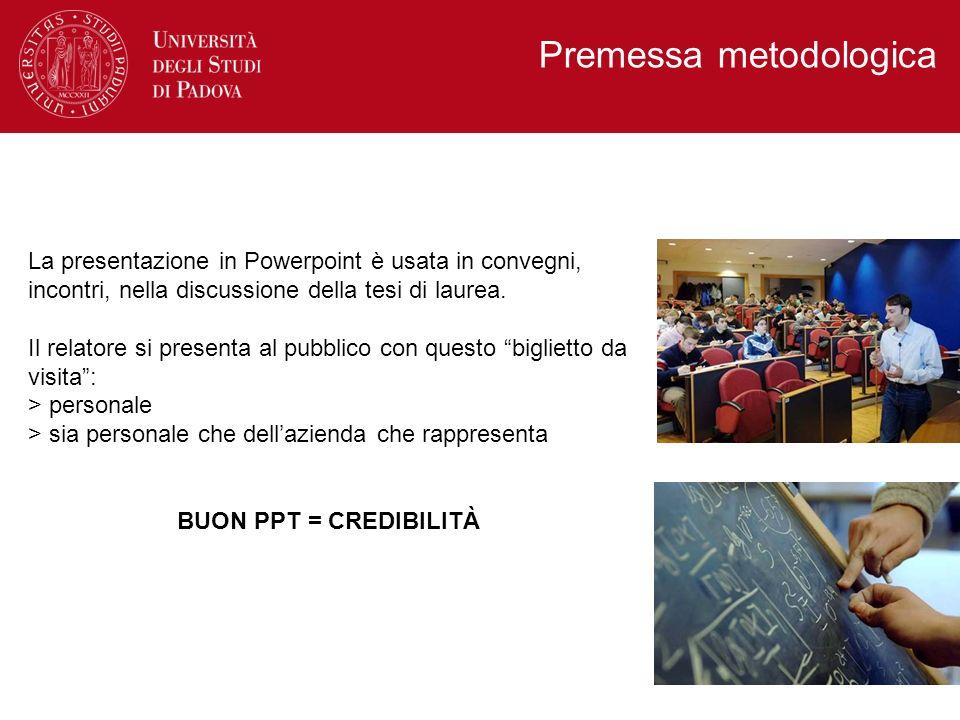 La presentazione in Powerpoint è usata in convegni, incontri, nella discussione della tesi di laurea. Il relatore si presenta al pubblico con questo b