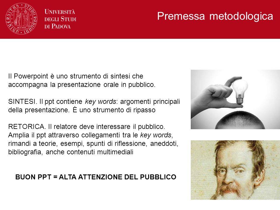 Il Powerpoint è uno strumento di sintesi che accompagna la presentazione orale in pubblico. SINTESI. Il ppt contiene key words: argomenti principali d