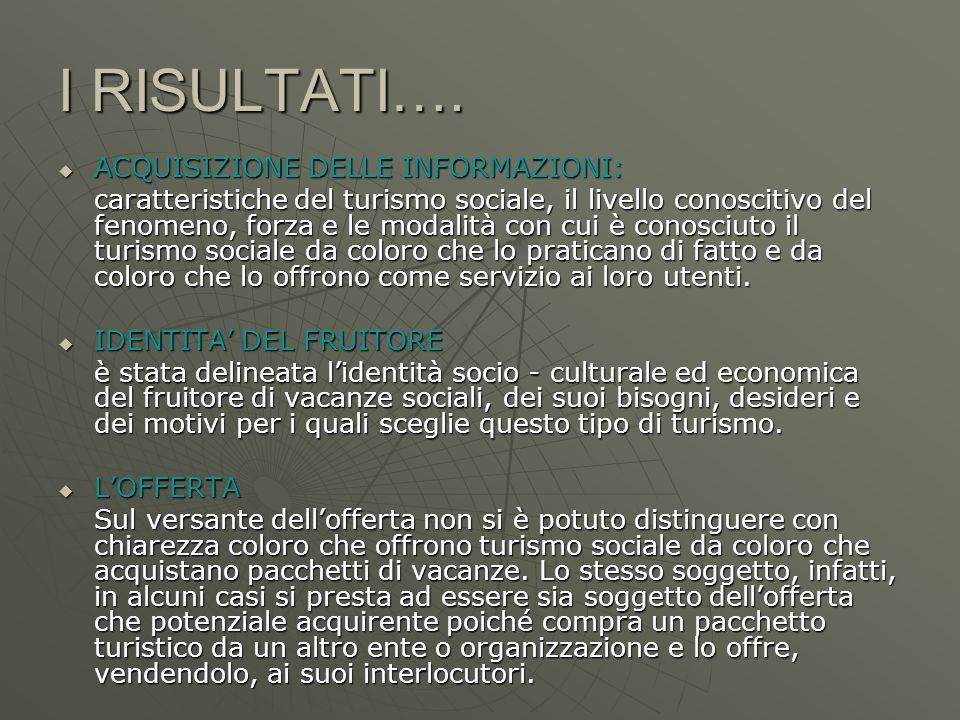 I RISULTATI…. ACQUISIZIONE DELLE INFORMAZIONI: ACQUISIZIONE DELLE INFORMAZIONI: caratteristiche del turismo sociale, il livello conoscitivo del fenome