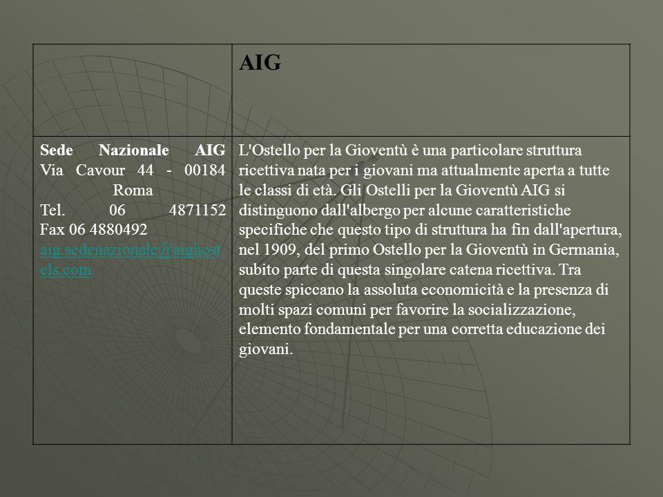 AIG Sede Nazionale AIG Via Cavour 44 - 00184 Roma Tel. 06 4871152 Fax 06 4880492 aig.sedenazionale@aighost els.com L'Ostello per la Gioventù è una par