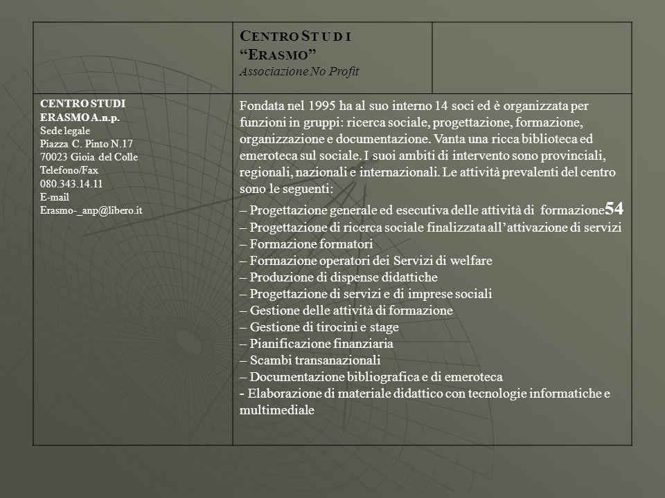 C ENTRO S T U D I E RASMO Associazione No Profit CENTRO STUDI ERASMO A.n.p. Sede legale Piazza C. Pinto N.17 70023 Gioia del Colle Telefono/Fax 080.34