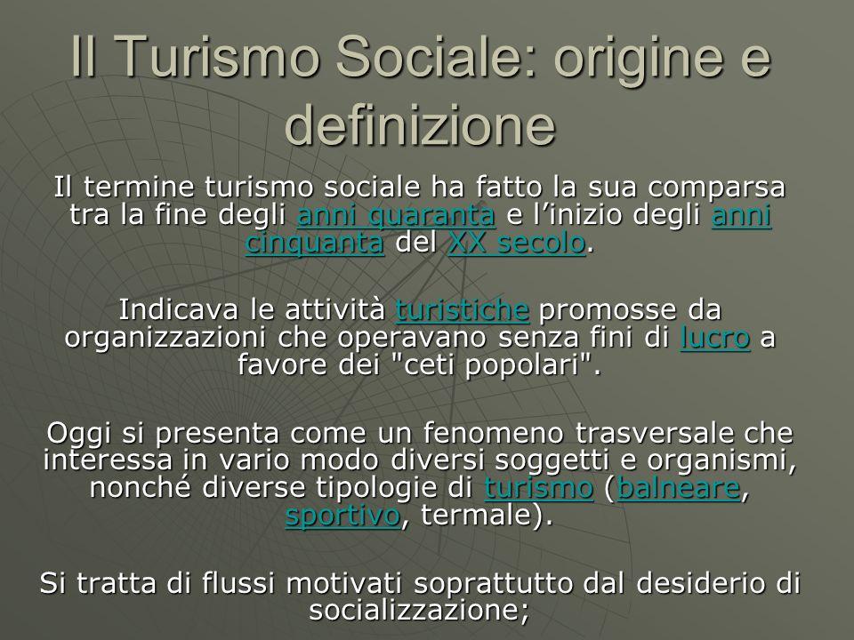Il Turismo Sociale: origine e definizione Il termine turismo sociale ha fatto la sua comparsa tra la fine degli anni quaranta e linizio degli anni cin