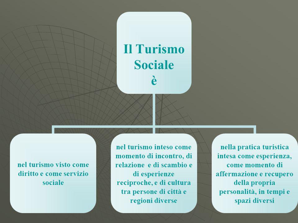 Il Turismo Sociale è nel turismo visto come diritto e come servizio sociale nel turismo inteso come momento di incontro, di relazione e di scambio e d