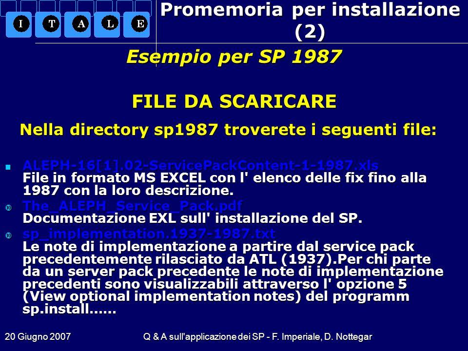 20 Giugno 2007Q & A sull'applicazione dei SP - F. Imperiale, D. Nottegar Promemoria per installazione (2) Nella directory sp1987 troverete i seguenti
