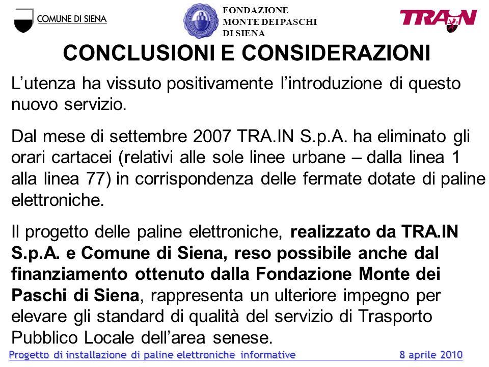 CONCLUSIONI E CONSIDERAZIONI Lutenza ha vissuto positivamente lintroduzione di questo nuovo servizio. Dal mese di settembre 2007 TRA.IN S.p.A. ha elim