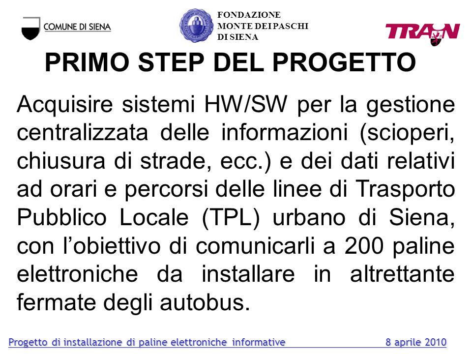 SECONDO STEP DEL PROGETTO Acquisire sistemi HW/SW per lindividuazione della posizione geografica, della velocità e della percorrenza degli autobus mediante dispositivi di bordo da installare sullintera flotta urbana ed extraurbana.