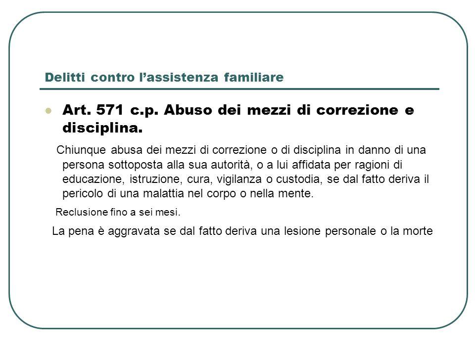 Delitti contro lassistenza familiare Art. 571 c.p. Abuso dei mezzi di correzione e disciplina. Chiunque abusa dei mezzi di correzione o di disciplina