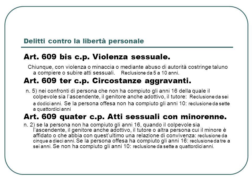 Delitti contro la libertà personale Art. 609 bis c.p. Violenza sessuale. Chiunque, con violenza o minaccia o mediante abuso di autorità costringe talu