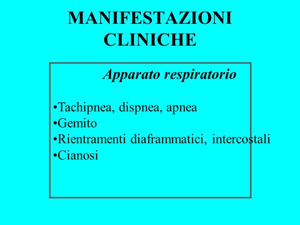 MANIFESTAZIONI CLINICHE Apparato respiratorio Tachipnea, dispnea, apnea Gemito Rientramenti diaframmatici, intercostali Cianosi