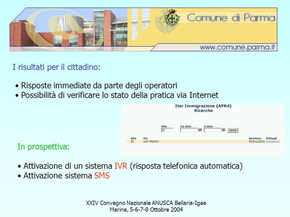 I risultati per il cittadino: Risposte immediate da parte degli operatori Possibilità di verificare lo stato della pratica via Internet In prospettiva