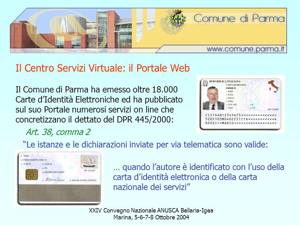 XXIV Convegno Nazionale ANUSCA Bellaria-Igea Marina, 5-6-7-8 Ottobre 2004 Il Centro Servizi Virtuale: il Portale Web Il Comune di Parma ha emesso oltr