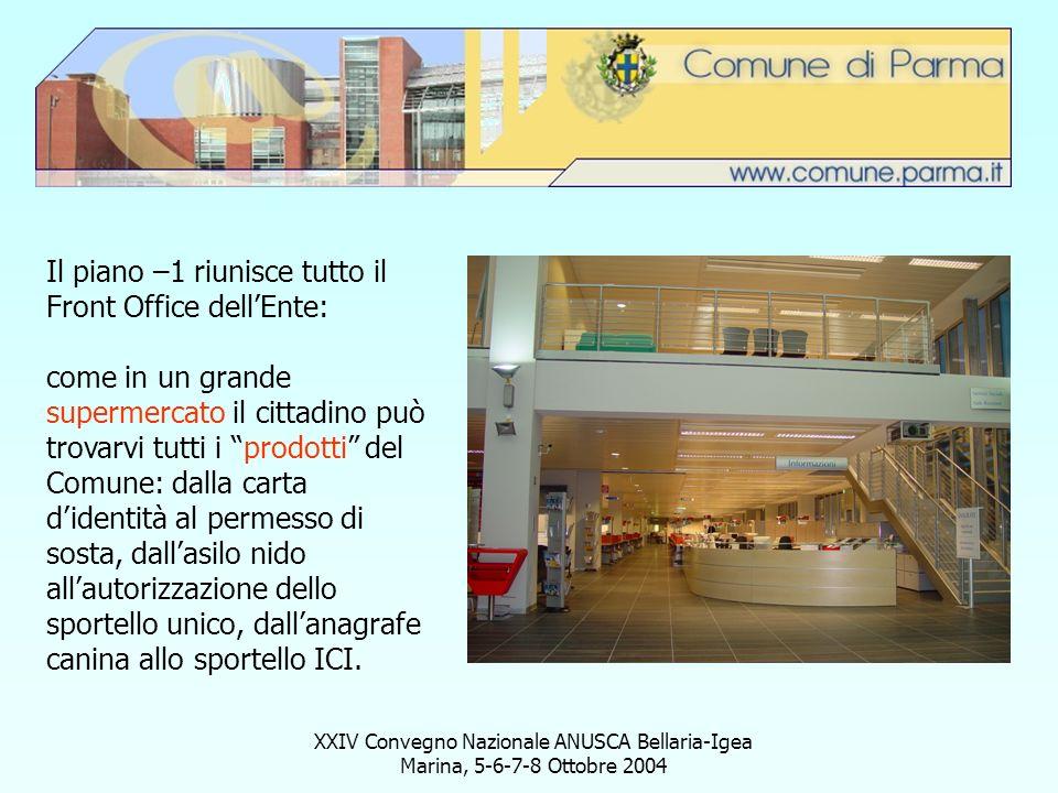 XXIV Convegno Nazionale ANUSCA Bellaria-Igea Marina, 5-6-7-8 Ottobre 2004 Il piano –1 riunisce tutto il Front Office dellEnte: come in un grande super
