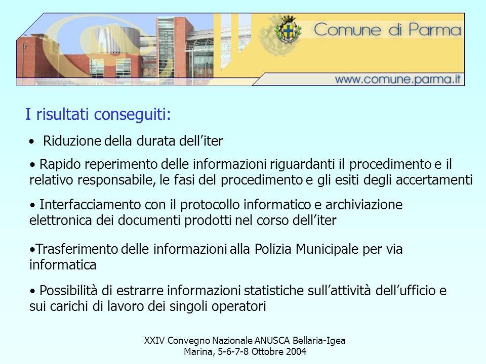 XXIV Convegno Nazionale ANUSCA Bellaria-Igea Marina, 5-6-7-8 Ottobre 2004 I risultati conseguiti: Riduzione della durata delliter Rapido reperimento d