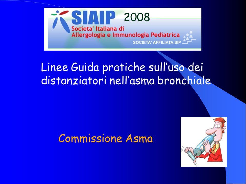Principali ostacoli ad una maggior diffusione delluso dello spray con il distanziatore Abitudine Scarsa conoscenza Motivi economici Motivi igienici Timori di un aumento del carico di lavoro Linee Guida SIAIP 2008