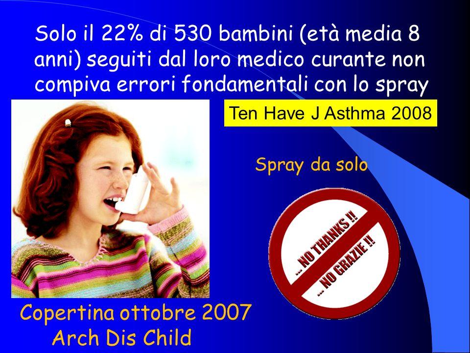 Solo il 22% di 530 bambini (età media 8 anni) seguiti dal loro medico curante non compiva errori fondamentali con lo spray Ten Have J Asthma 2008 Spra