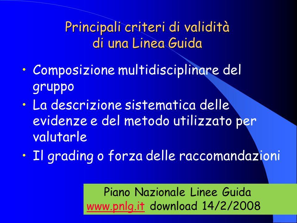 Principali criteri di validità di una Linea Guida Composizione multidisciplinare del gruppo La descrizione sistematica delle evidenze e del metodo uti