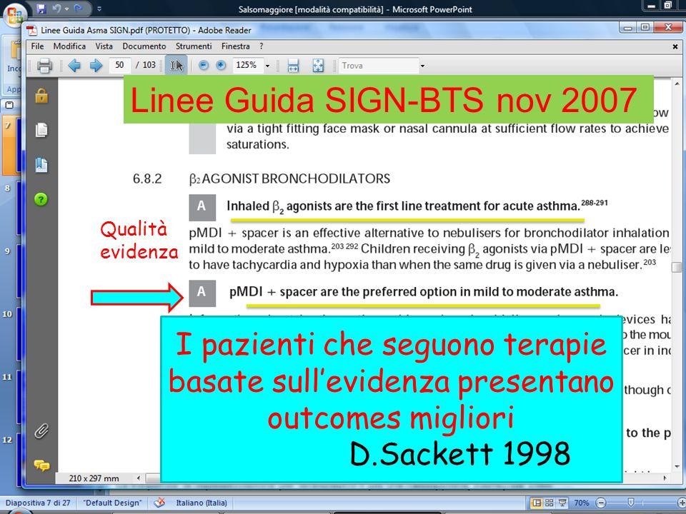 Linee Guida SIGN-BTS nov 2007 Qualità evidenza I pazienti che seguono terapie basate sullevidenza presentano outcomes migliori D.Sackett 1998