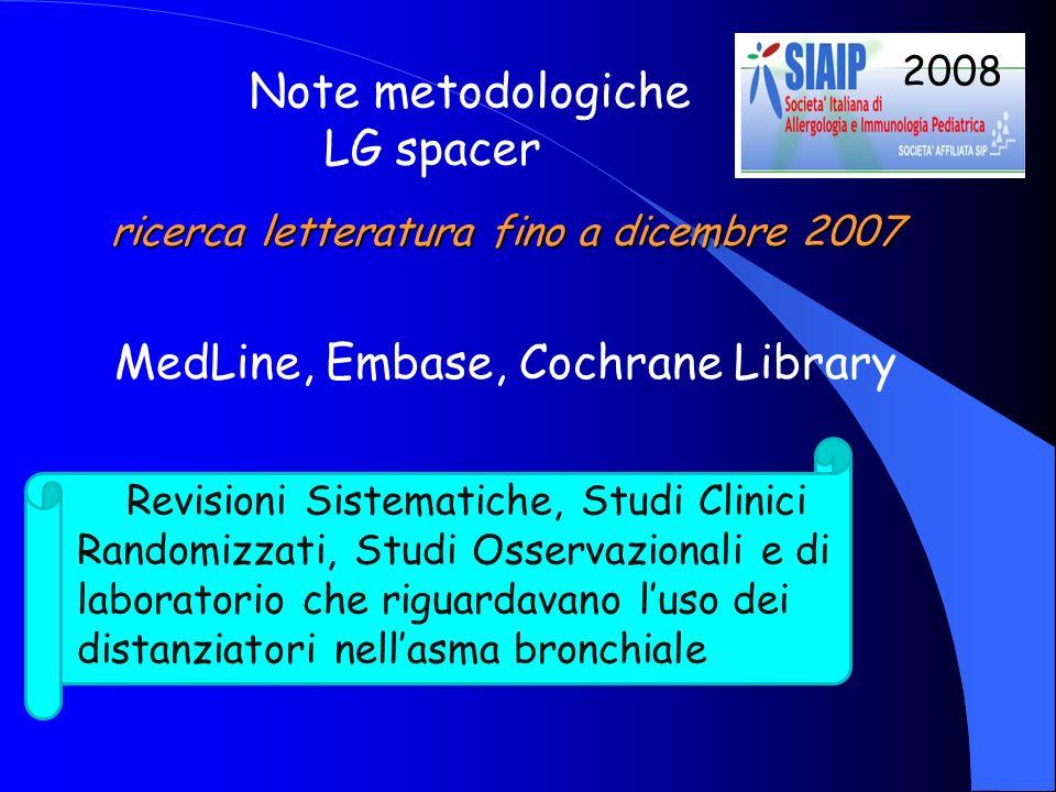 ricerca letteratura fino a dicembre 2007 MedLine, Embase, Cochrane Library Revisioni Sistematiche, Studi Clinici Randomizzati, Studi Osservazionali e