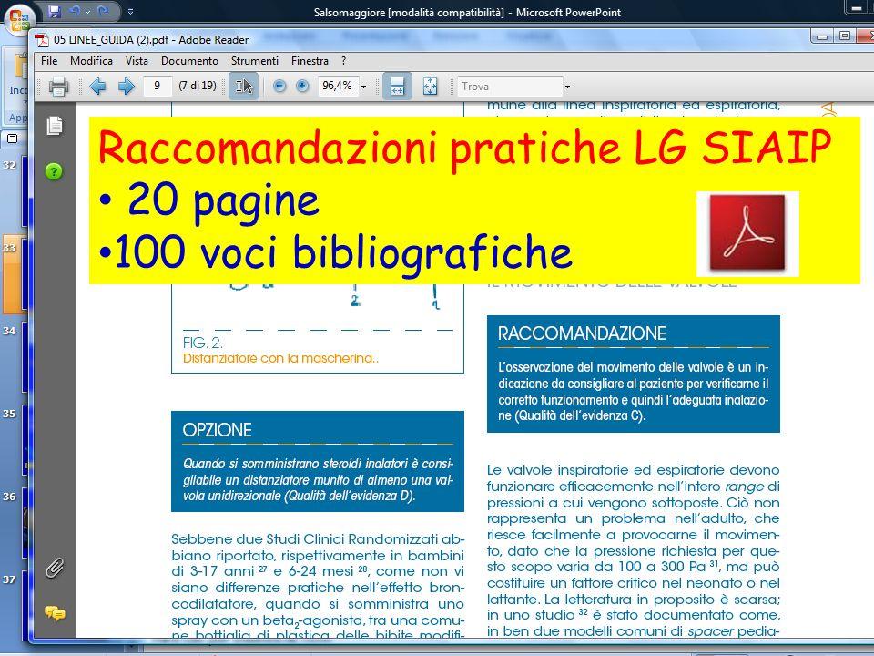 Raccomandazioni pratiche LG SIAIP 20 pagine 100 voci bibliografiche