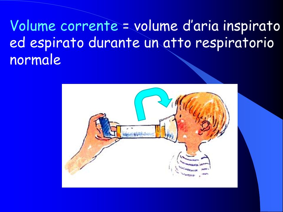 Volume corrente = volume daria inspirato ed espirato durante un atto respiratorio normale