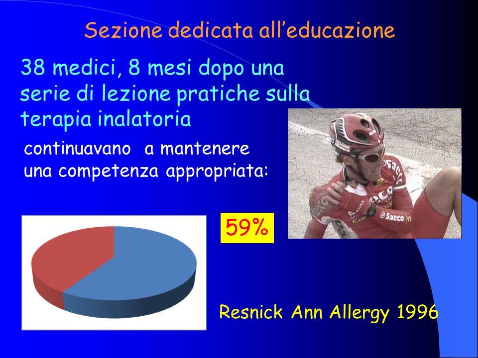 continuavano a mantenere una competenza appropriata: Sezione dedicata alleducazione 59% Resnick Ann Allergy 1996 38 medici, 8 mesi dopo una serie di l