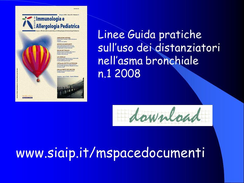 Linee Guida pratiche sulluso dei distanziatori nellasma bronchiale n.1 2008 www.siaip.it/mspacedocumenti