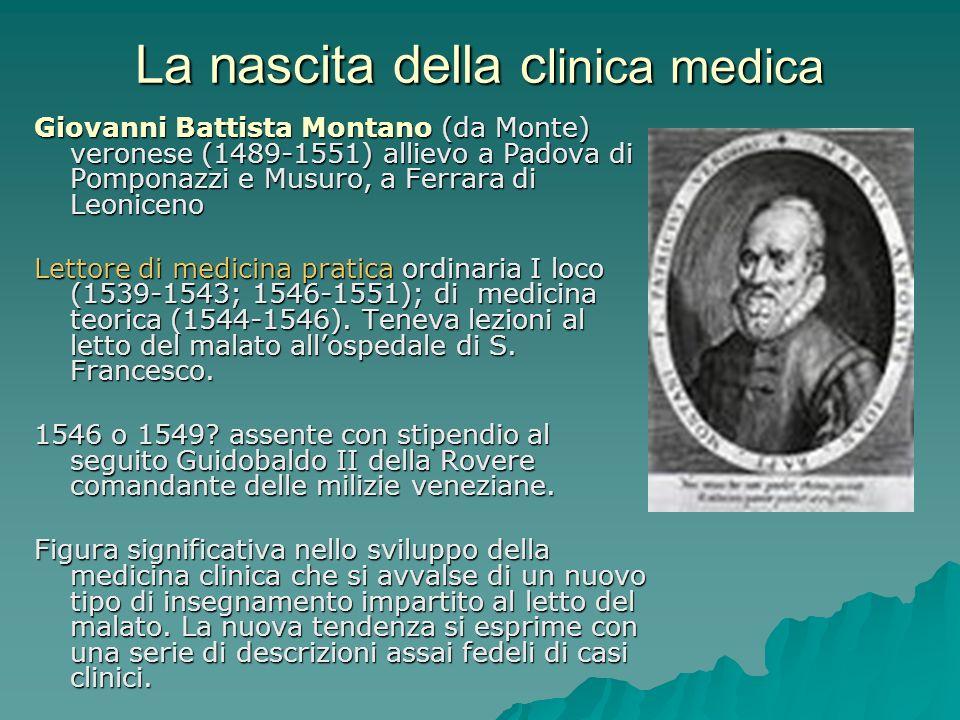 La nascita della c linica medica Giovanni Battista Montano (da Monte) veronese (1489-1551) allievo a Padova di Pomponazzi e Musuro, a Ferrara di Leoni