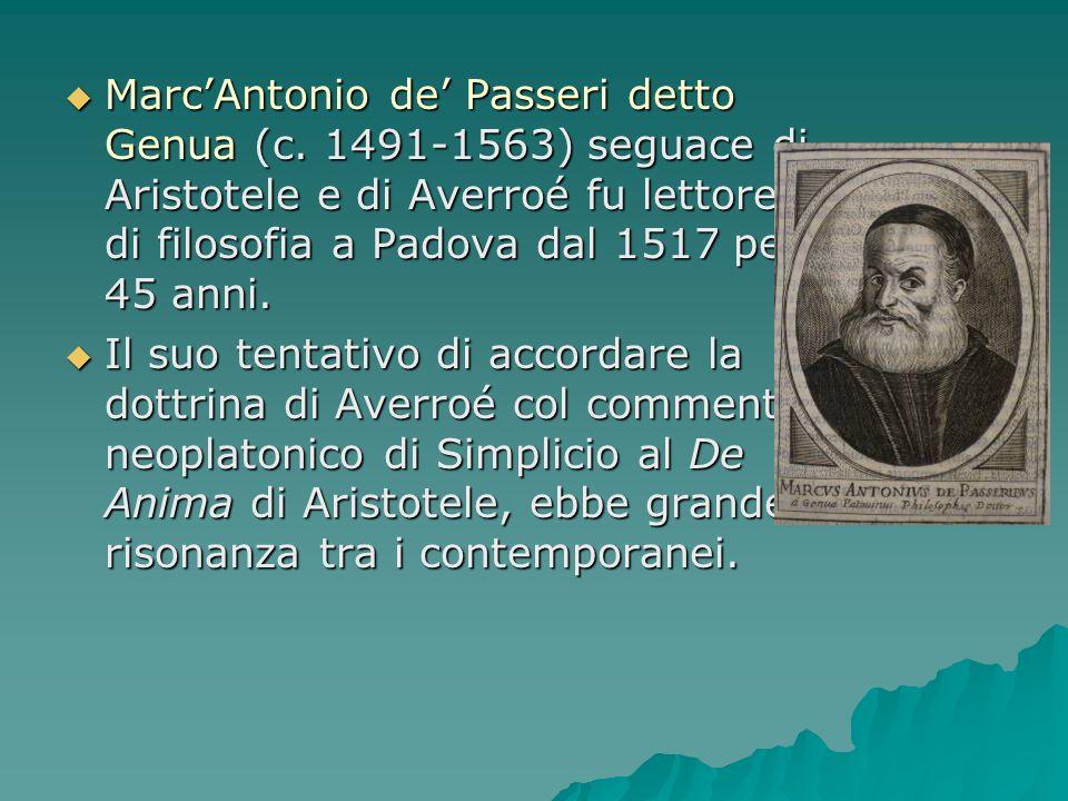 MarcAntonio de Passeri detto Genua (c. 1491-1563) seguace di Aristotele e di Averroé fu lettore di filosofia a Padova dal 1517 per 45 anni. MarcAntoni