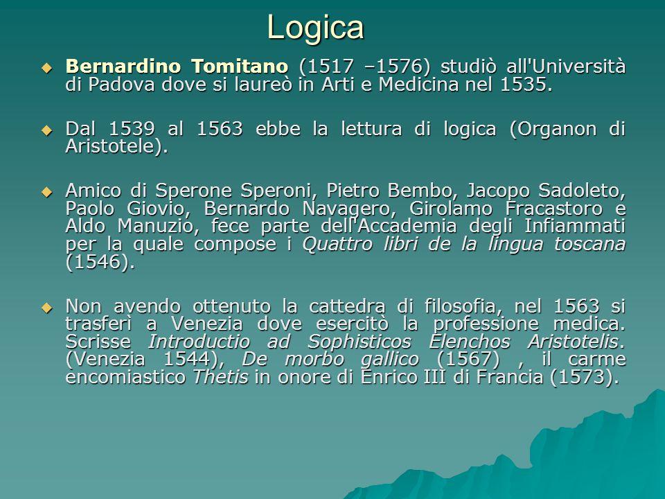 Logica Bernardino Tomitano (1517 –1576) studiò all'Università di Padova dove si laureò in Arti e Medicina nel 1535. Bernardino Tomitano (1517 –1576) s