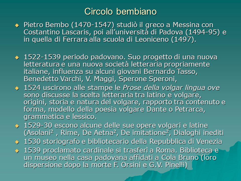 Circolo bembiano Pietro Bembo (1470-1547) studiò il greco a Messina con Costantino Lascaris, poi alluniversità di Padova (1494-95) e in quella di Ferr