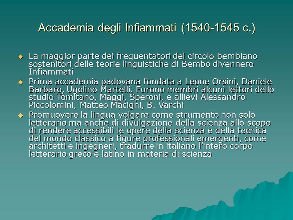 Accademia degli Infiammati (1540-1545 c.) La maggior parte dei frequentatori del circolo bembiano sostenitori delle teorie linguistiche di Bembo diven