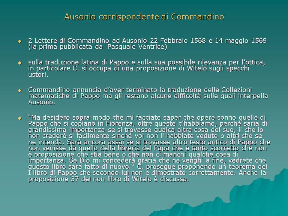 Ausonio corrispondente di Commandino 2 Lettere di Commandino ad Ausonio 22 Febbraio 1568 e 14 maggio 1569 (la prima pubblicata da Pasquale Ventrice) 2