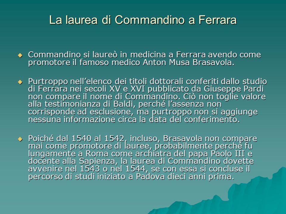 La laurea di Commandino a Ferrara Commandino si laureò in medicina a Ferrara avendo come promotore il famoso medico Anton Musa Brasavola. Commandino s