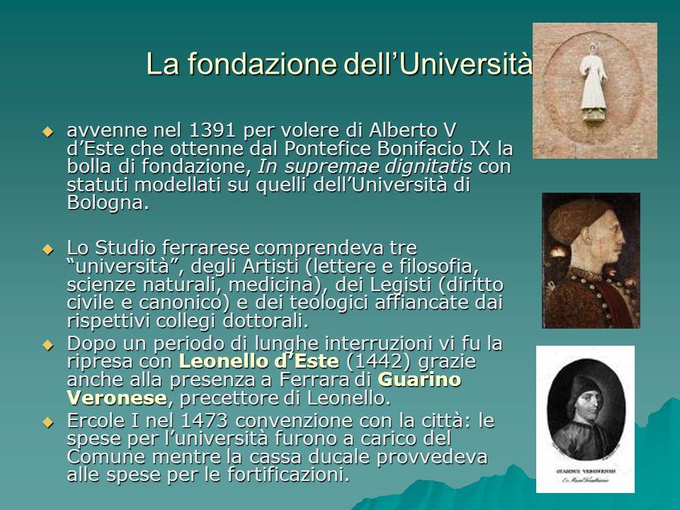 La fondazione dellUniversità avvenne nel 1391 per volere di Alberto V dEste che ottenne dal Pontefice Bonifacio IX la bolla di fondazione, In supremae