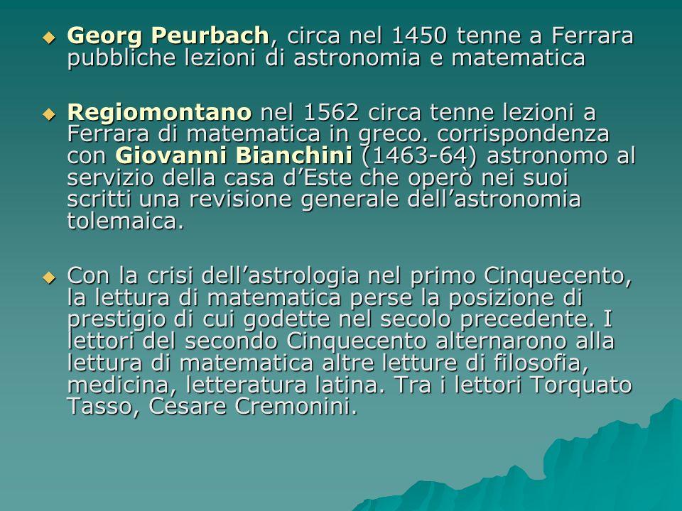 Georg Peurbach, circa nel 1450 tenne a Ferrara pubbliche lezioni di astronomia e matematica Georg Peurbach, circa nel 1450 tenne a Ferrara pubbliche l