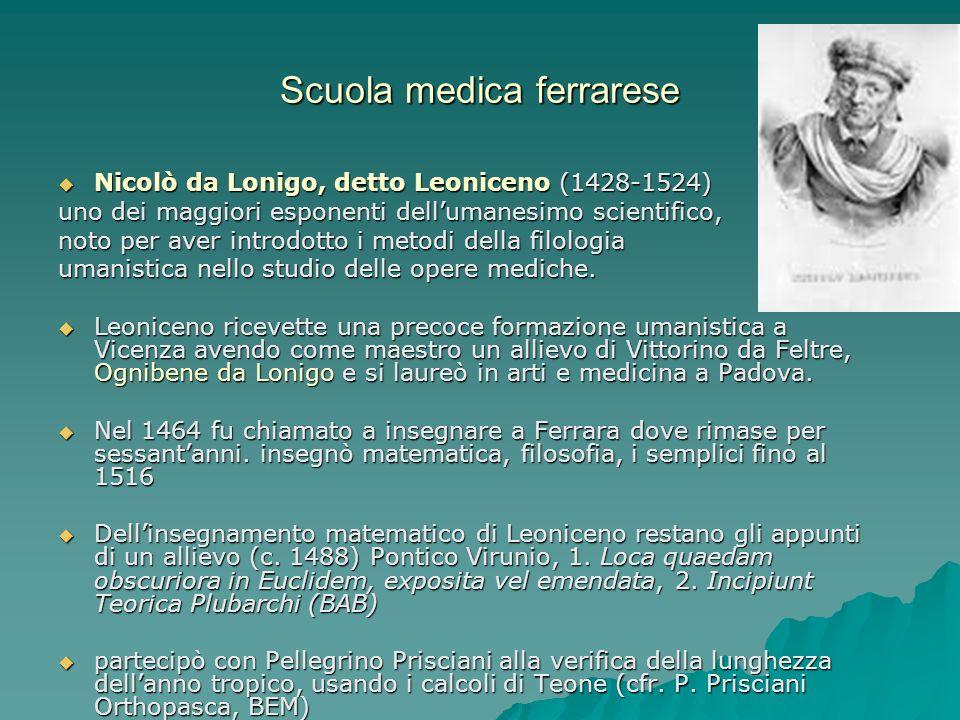 Scuola medica ferrarese Nicolò da Lonigo, detto Leoniceno (1428-1524) Nicolò da Lonigo, detto Leoniceno (1428-1524) uno dei maggiori esponenti delluma