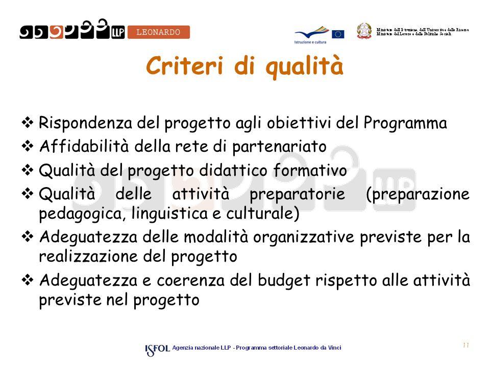 11 Criteri di qualità Rispondenza del progetto agli obiettivi del Programma Affidabilità della rete di partenariato Qualità del progetto didattico for