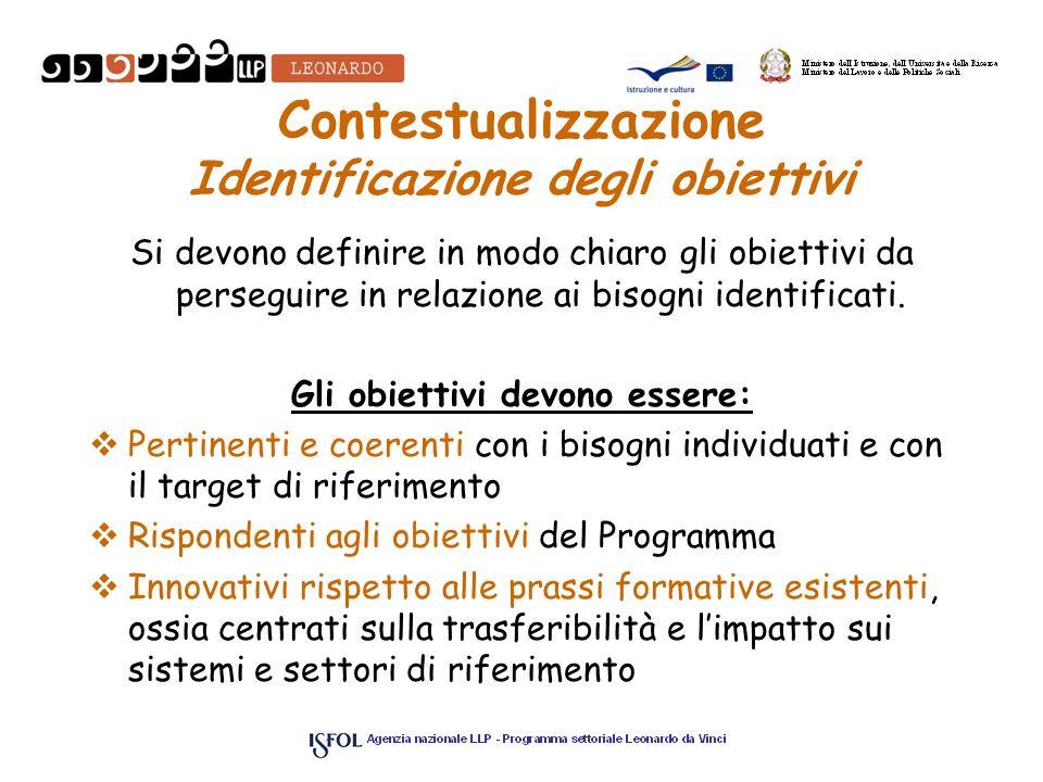 Contestualizzazione Identificazione degli obiettivi Si devono definire in modo chiaro gli obiettivi da perseguire in relazione ai bisogni identificati