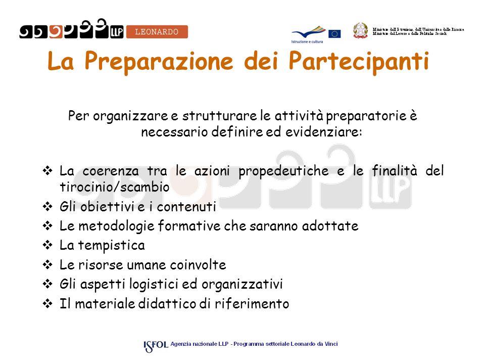 La Preparazione dei Partecipanti Per organizzare e strutturare le attività preparatorie è necessario definire ed evidenziare: La coerenza tra le azion