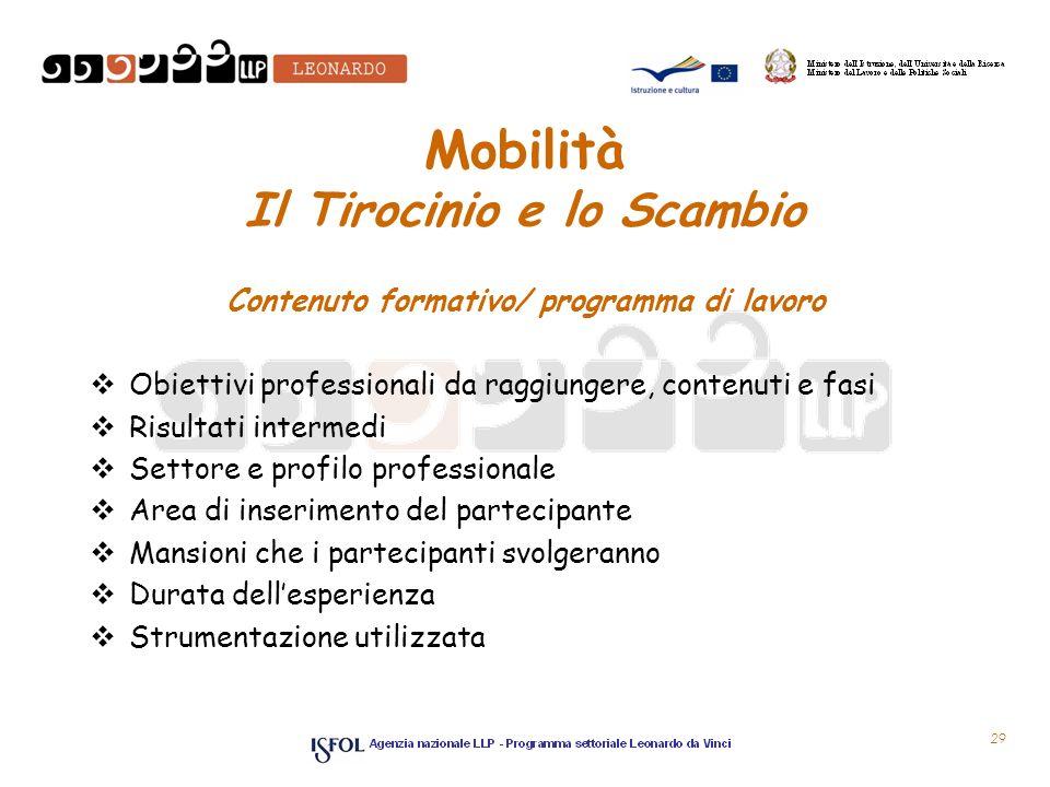 Mobilità Il Tirocinio e lo Scambio Contenuto formativo/ programma di lavoro Obiettivi professionali da raggiungere, contenuti e fasi Risultati interme