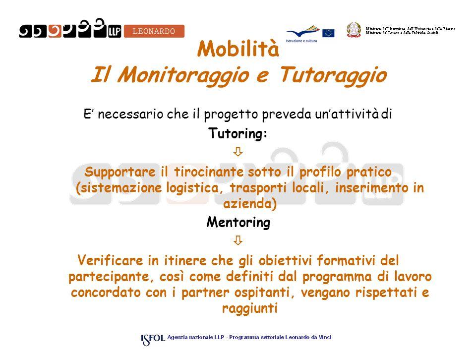 Mobilità Il Monitoraggio e Tutoraggio E necessario che il progetto preveda unattività di Tutoring: Supportare il tirocinante sotto il profilo pratico