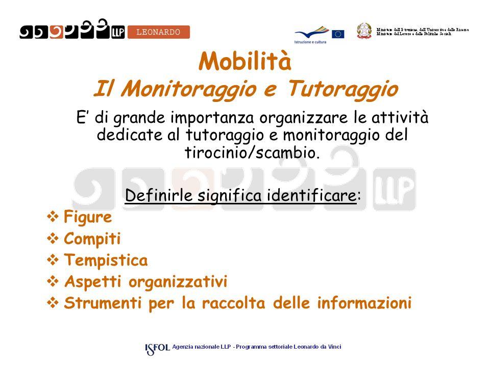 Mobilità Il Monitoraggio e Tutoraggio E di grande importanza organizzare le attività dedicate al tutoraggio e monitoraggio del tirocinio/scambio. Defi