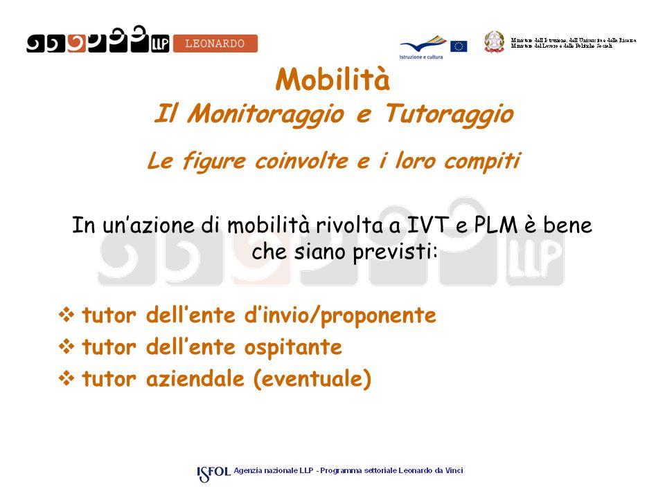 Mobilità Il Monitoraggio e Tutoraggio Le figure coinvolte e i loro compiti In unazione di mobilità rivolta a IVT e PLM è bene che siano previsti: tuto