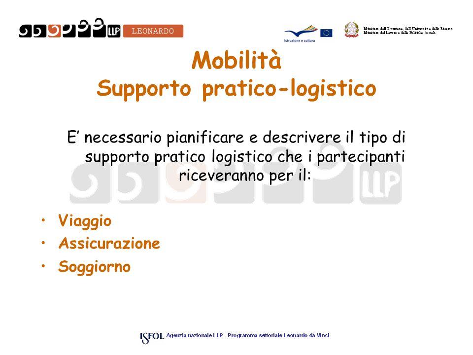 Mobilità Supporto pratico-logistico E necessario pianificare e descrivere il tipo di supporto pratico logistico che i partecipanti riceveranno per il: