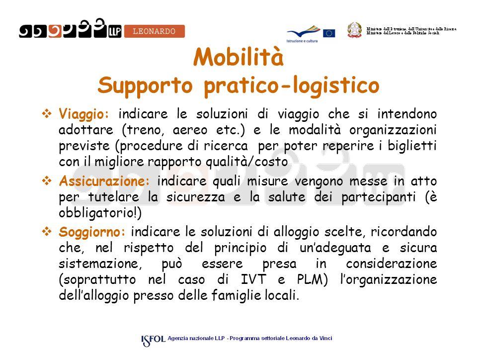 Mobilità Supporto pratico-logistico Viaggio: indicare le soluzioni di viaggio che si intendono adottare (treno, aereo etc.) e le modalità organizzazio