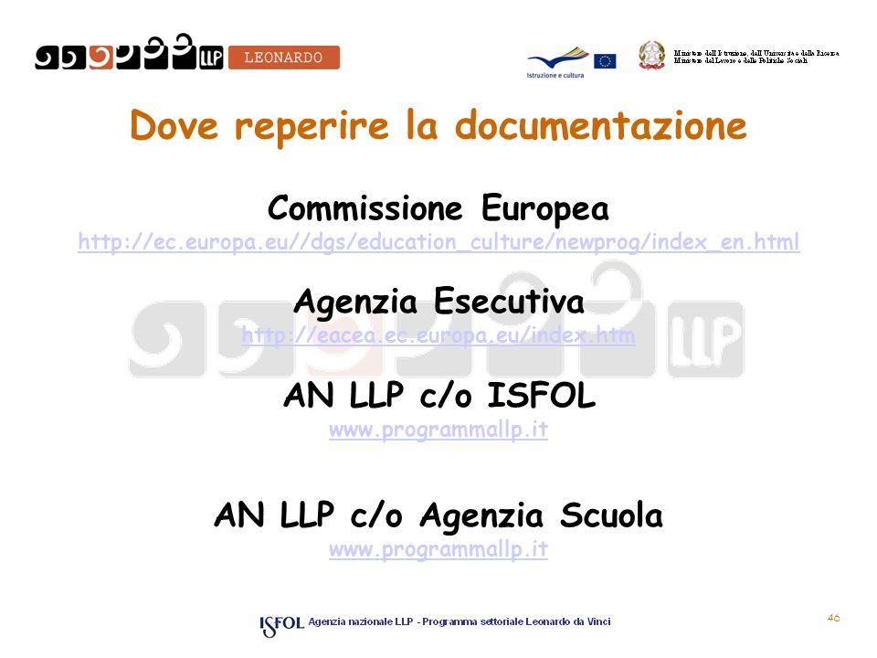 46 Dove reperire la documentazione Commissione Europea http://ec.europa.eu//dgs/education_culture/newprog/index_en.html Agenzia Esecutiva http://eacea