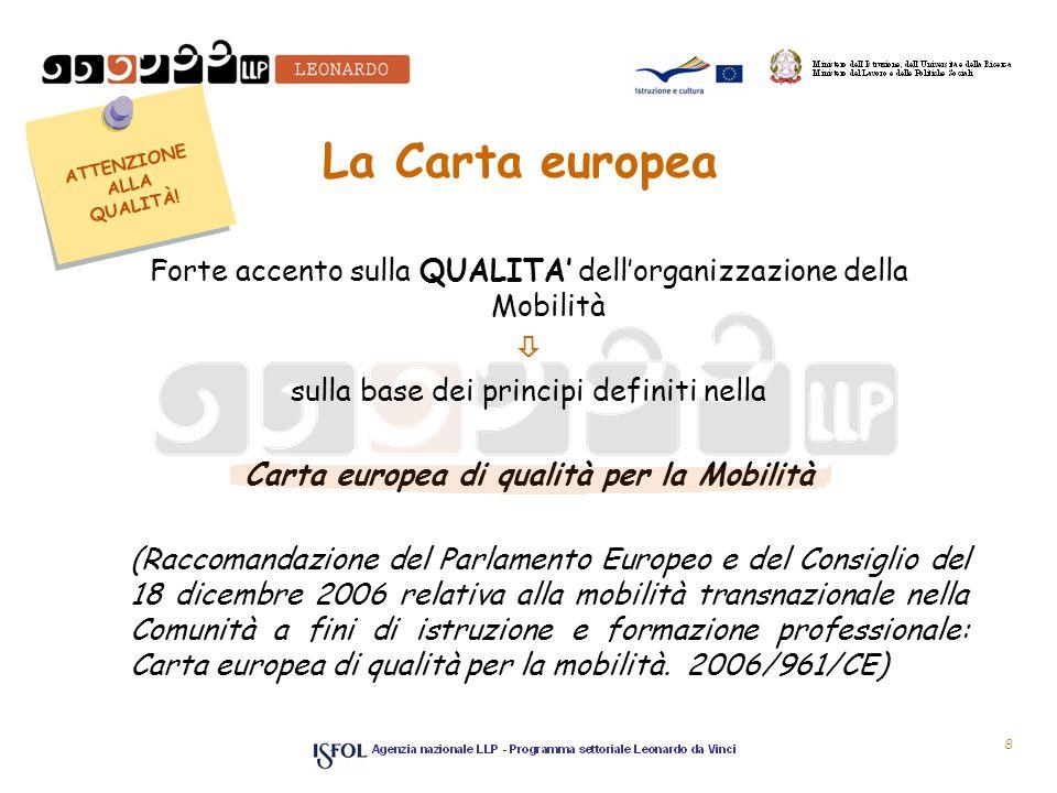 La Carta europea Forte accento sulla QUALITA dellorganizzazione della Mobilità sulla base dei principi definiti nella Carta europea di qualità per la