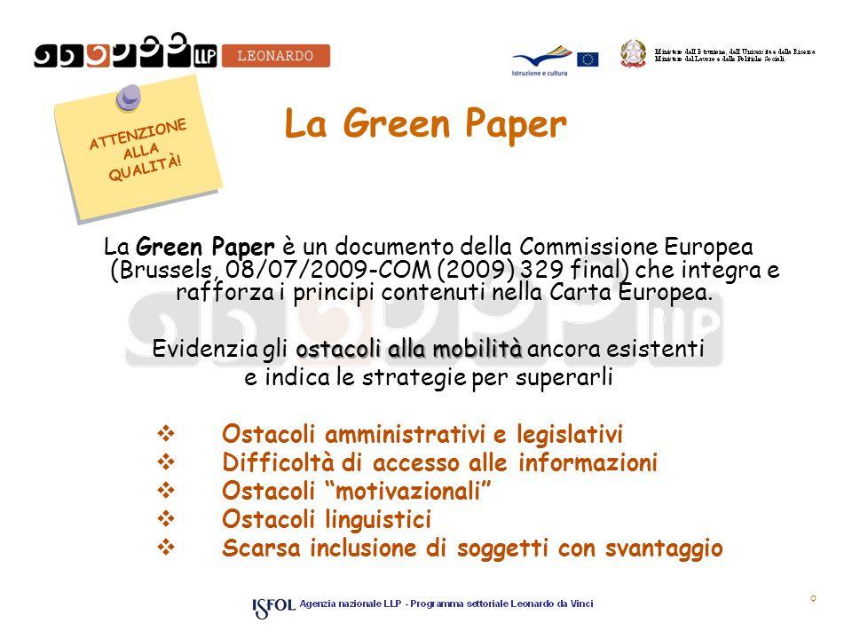 La Green Paper La Green Paper è un documento della Commissione Europea (Brussels, 08/07/2009-COM (2009) 329 final) che integra e rafforza i principi c