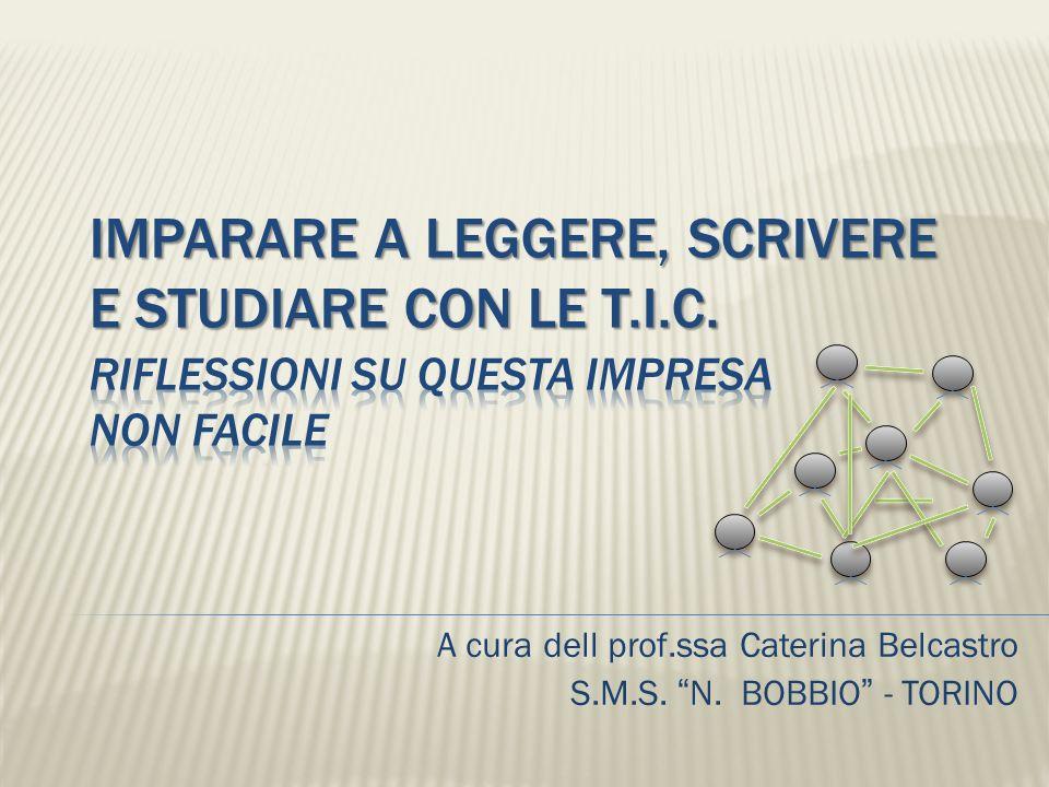 A cura dell prof.ssa Caterina Belcastro S.M.S. N. BOBBIO - TORINO