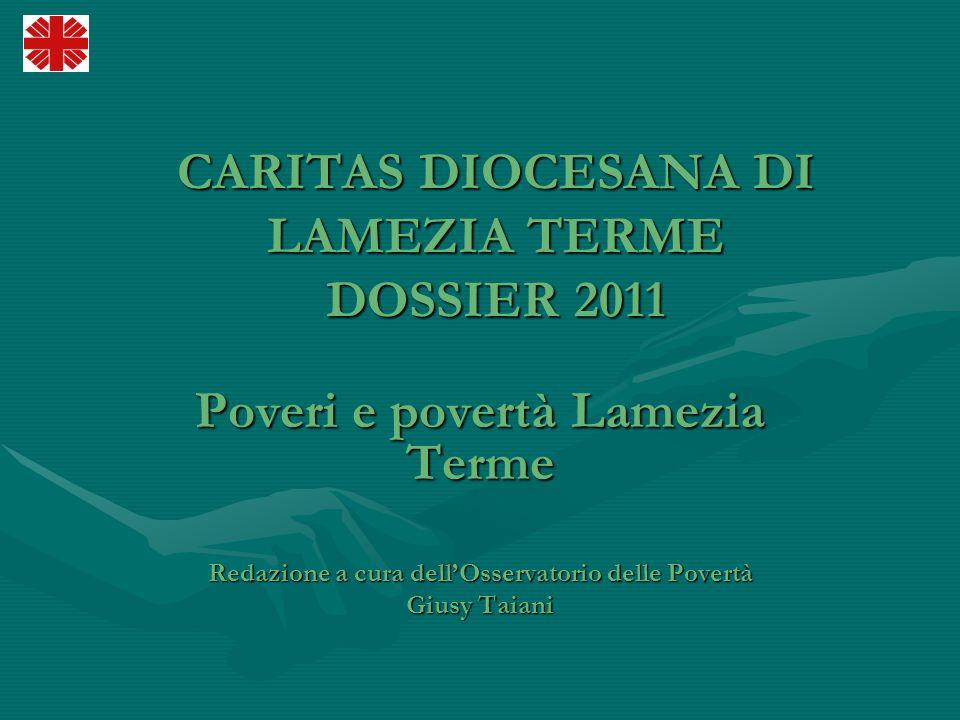 CARITAS DIOCESANA DI LAMEZIA TERME DOSSIER 2011 Poveri e povertà Lamezia Terme Redazione a cura dellOsservatorio delle Povertà Giusy Taiani